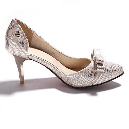 AllhqFashion Damen Rein Weiches Material Hoher Absatz Ziehen Auf Spitz Zehe Pumps Schuhe Silber
