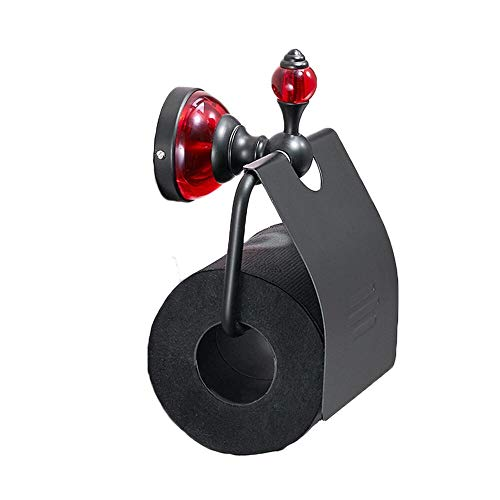 TentHome Antik Toilettenpapierhalter Schwarz WC Papierrollenhalter Wand Matt WC Rollenhalter mit Deckel Klopapierhalter Toilettenrollenhalter Wandrollenhalter Badezimmer Zubehör (B)