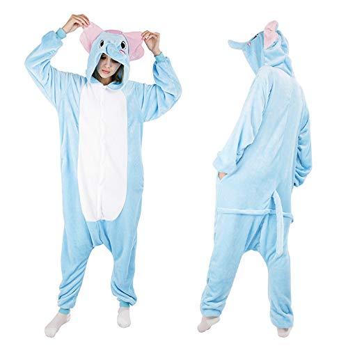JYLW Damen Schlafanzug Erwachsene Einteilige Onesie Einhorn Halloween-Kostüme Für Frauen Monster Hooded Winter Warm Frauen Tier Pyjamas, Elefant Onesies, S (Monster Onesies Für Erwachsene)