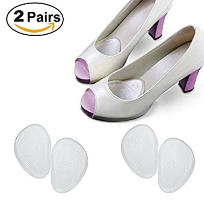 Ballotte Ball of Foot Care Cushions for High Heels - 2 pairs of gel pads - Fast Pain relief relieving. Prevents metatarsalgia, buniouns, corns, calluses - Metatarsal Pads that cushions your forefoot and absorb shock. Thin and transparent silicone Insoles
