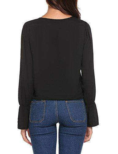 Beyove Damen Bluse Chiffon V-Ausschnitt Longshirt Lose Oversize T-Shirt Oberteile Tunika Lose Tops Schwarz