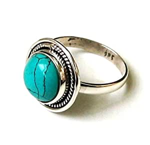 Shanya Sterling Silver Ethnic Ring Turquoise Howlite Size W