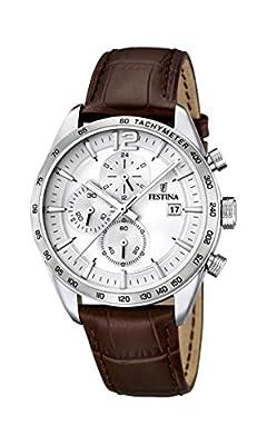 University Sports Press F16760/1 - Reloj de cuarzo para hombre, con correa de cuero, color marrón de University Sports Press