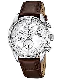 University Sports Press  F16760/1 - Reloj de cuarzo para hombre, con correa de cuero, color marrón