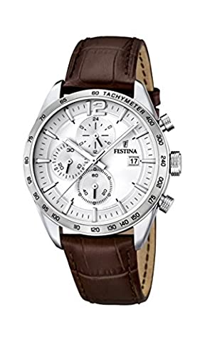 Festina Men's Quartz Watch with White Dial Chronograph Display and Brown Leather Strap F16760/1