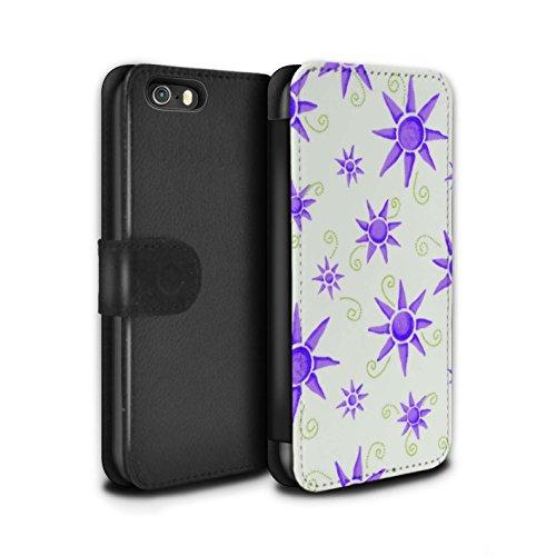 Stuff4 Coque/Etui/Housse Cuir PU Case/Cover pour Apple iPhone SE / Pack (14 pcs) Design / Motif Soleil Collection Violet/Blanc