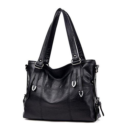 Gesteppte Tasche Mini Tote (DEERWORD Damen Umhängetaschen Handtaschen Totes Henkeltaschen Schultertaschen Leder Schwarz)