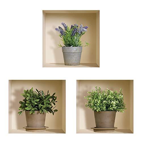 The nisha art adesivi 3d magici da muro in vinile sticker decalcomania fai-da-te, set da 3, verdi piante di lavanda