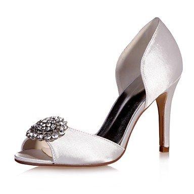Wuyulunbi@ Scarpe donna raso Primavera Estate della pompa base scarpe matrimonio Stiletto Heel Peep toe strass per la festa di nozze & Sera viola rosso blu Bianco