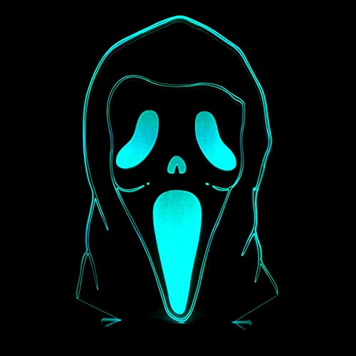 Home beleuchtung Halloween ghost gesicht lustige maske 3D nachtlicht bunte touch fernbedienung Led 3D visuelle acryl tischlampe (Halloween Ghost Gesichter)