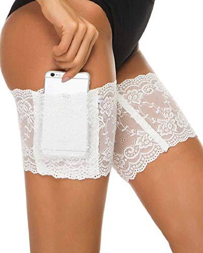 heekpek Damen Anti Chafing Bands Bänder Socke Anti-Scheuern Oberschenkel Bein Wärmer mit Cellphone Pocket (Weiß, S (50-55 cm/20