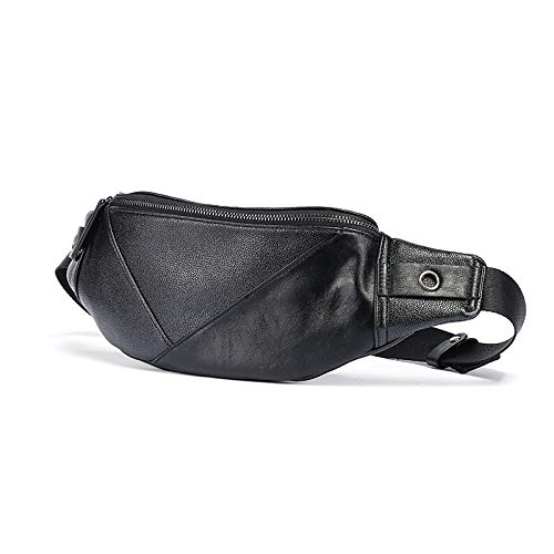 Arulinmz 2019 Mode Herrenmode Retro Gürteltasche PU-Leder Umhängetasche Brusttasche Outdoor-Sport-Rucksack (schwarz)