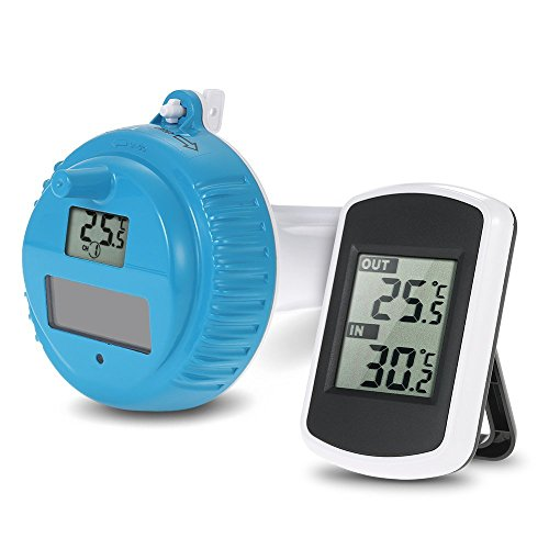 Anself Funk Poolthermometer Digital Schwimmbad-Thermometer mit LCD Display