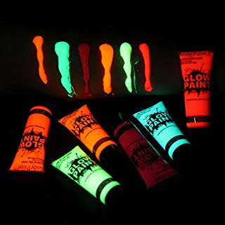 Aibecy 6 Tubes 10ml/0.34oz Art Body Paint Glow in Dark or UV Light Face & Body Paint with 6 Colors Glow Blacklight Neon Fluorescent for Party Clubbing Festival Halloween Makeup