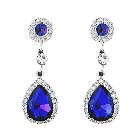 YAZILIND Dazzling Silver Plated Pear Round Cut Sapphire Blue Cubic Zirconia CZ Flawless Dangle Earrings