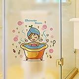 EdmendYang Schönes Mädchen im Bad Glastür Wandaufkleber Dusche Wasserdichte Badezimmer Home Decoration Art Decals Aufkleber Tapete