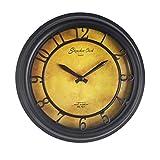 MingXia - Orologio da parete in stile europeo retrò, meccanico, digitale, rotondo, con numeri arabi, per camera/soggiorno/camera da letto/bar/ufficio/cucina, diametro 22,5 cm, colore: nero
