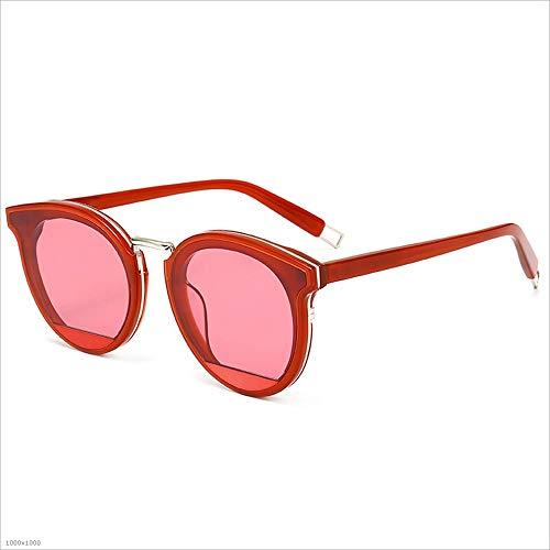 Yiph-Sunglass Sonnenbrillen Mode Katzenaugen Acetat Fiber Frame Nylon Objektiv UV Schutz Sonnenbrille Strand Fahren Urlaub Angeln Party für Frauen (Farbe : Rot)
