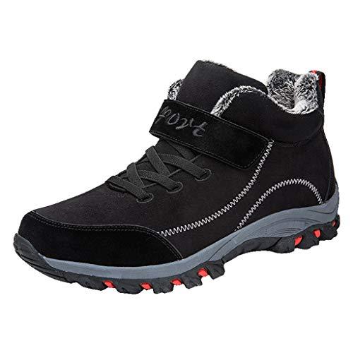 Xuthuly Winter Paar Mode bequem Kunstpelz warm halten Schnee Stiefel lässig schnüren Outdoor-Sport Wandern sowie Samt Schuhe