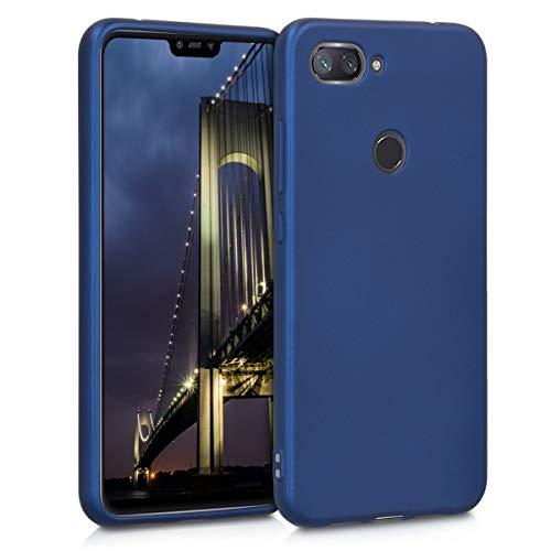kwmobile Funda para Xiaomi Mi 8 Lite - Carcasa para móvil en TPU Silicona - Protector Trasero en Azul Metalizado