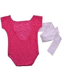 Chennie Bebé recién Nacido Encaje Encaje Cinta Mameluco Mono fotografía ...
