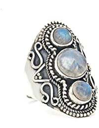 2e0ad8eb2000 Anillo de plata de ley 925 Piedra de luna blanca (MRI 169)