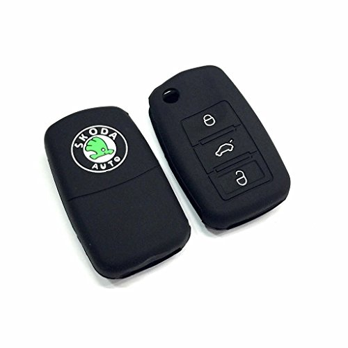 Car Remote Black Silicone Key Case Shell Cover For Skoda Octavia / Laura / Superb / Yeti / Fabia / Rapid (For 3 Button Flip Key)  available at amazon for Rs.109