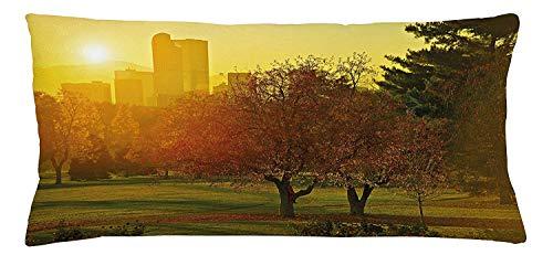 Cushion Cover, Sunset Over The City Park Colorado Skyline Autumn Theme Scenic Picture, Decorative Square Accent Pillow Case, 18 X 18 inches, Fern Green Dark Orange ()