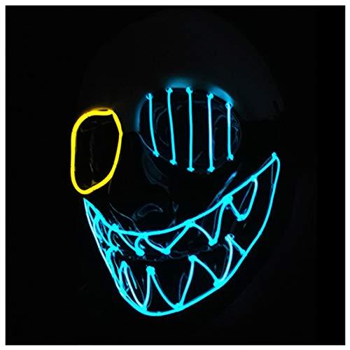 GRYY Halloween EL glühende Maske LED Maske Holiday Party Einäugige Persönlichkeit glühende Maske,Ordinary-OneSize (Daft Punk Kostüme Für Kinder)