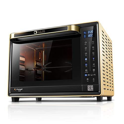 Intelligente WiFi-Toaster-Öfen, 32 L-Arbeitsplatte mit emailliertem Gusseisen und Grillplatte und Deckel, Touchscreen-Ofen für Pizza backen Keks, Schwarz, Gelb (Toaster Ofen-arbeitsplatte)