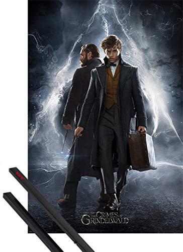 1art1® Póster + Soporte: Animales Fantásticos: Los Crímenes De Grindelwald Póster (91x61 cm) Newt & Dumbledore Y 1 Lote De 2 Varillas Negras