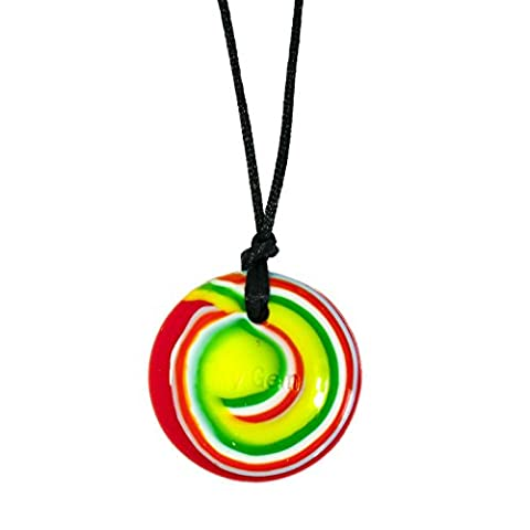 Chewigem Sensory Button Necklace - Fidget Toy For Grinding - Autism Grn/Red/Yell