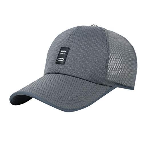 Unisex Kappe Classic Cap Einfache Und Voll Atmungsaktive Sportkappe Womens Mans Cotton Hochwertige Bestickte Unisex Baseball Caps Einstellbar (Grau) -