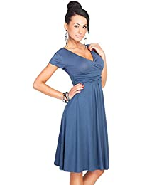 Mujeres vestido de manga cuello en V vestido corto vestido de Swing vestido de fiesta