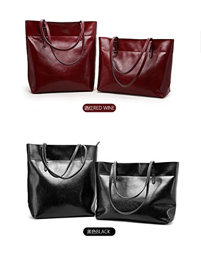 Anne, Borsa tote donna nero Brown A Wine Red B