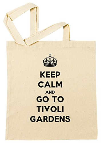 Erido Keep Calm and Go to Tivoli Gardens Einkaufstasche Wiederverwendbar Strand Baumwoll Shopping Bag Beach Reusable