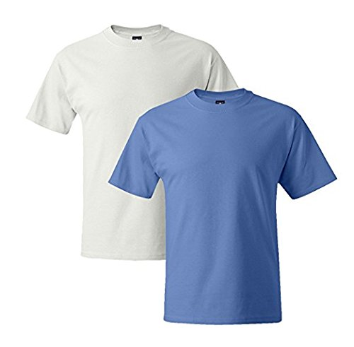 Hanes Mens 5180 Short Sleeve Beefy T 1 Carolina Blue / 1 White