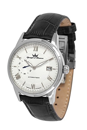 Yonger & Bresson Boissac Men's Automatic Watch with White Dial Analogue Display and Leather Black - YBH 8360-02