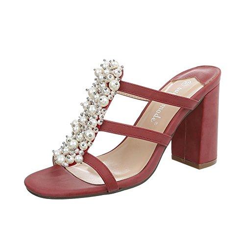 Ital-Design Pantoletten Damen-Schuhe Pump High Heels Sandalen & Sandaletten Weinrot, Gr 38, 9354-