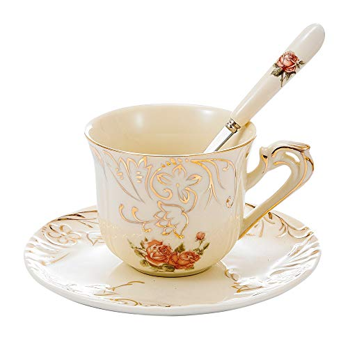 Panbado Ivory Porcelain Ceramic Coffee Tea Service (Set of 3),European Luxury Hand,with 1 Cup 1 Saucer and 1 Spoon