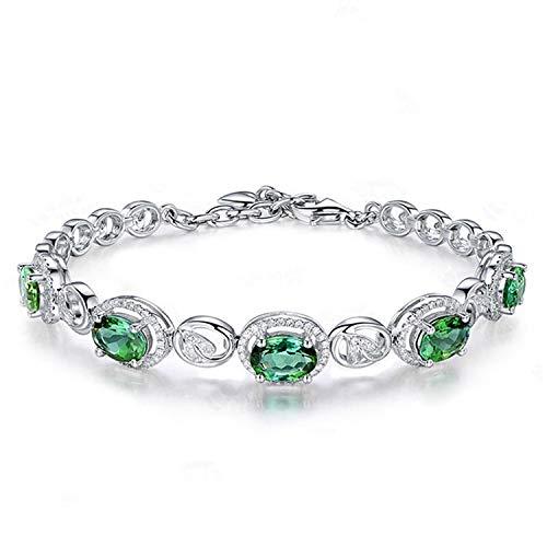Sunwd Luxury Armband Armkette Freundschaftsarmbänder, Elegant Women Bracelet Pave Setting Dazzing Olive Green Spinel Fine Jewelry 925 Sterling Silver Bracelets -