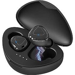 ZOVER Écouteurs sans Fil Bluetooth 5.0, Casque Bluetooth Écouteurs IPX7 Imperméable avec Hi-FI Stéréo Intégré CVC 8.0 Écouteurs Micro à Annulation de Bruit avec étui de Charge - Noir