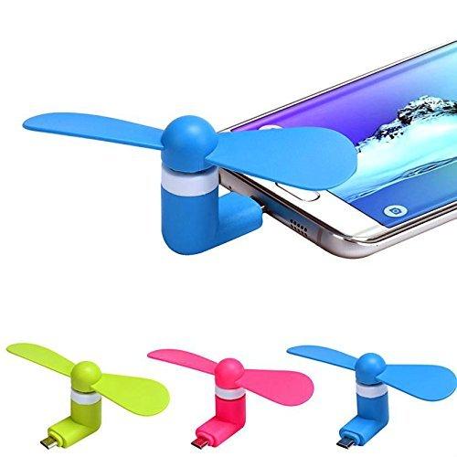 CARINGA - Mini Ventilatore USB portatile compatibile con Smarthphone Android Micro USB Windows Samsung S4 s5 s6 s7 galaxy con funzione OTG wiko bloom