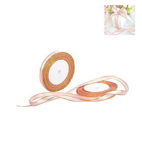 elseitige Seidenbänder Satin Bogen Hochzeit Schleifenband Handwerk Geschenkverpackung Rosa Gold Rand 25 Yards ()