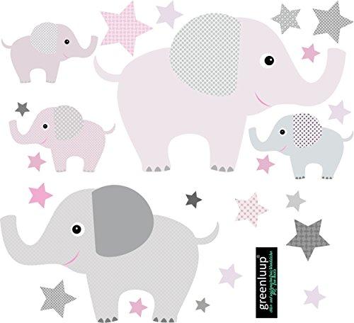 greenluup Wandsticker Wandaufkleber Tapetensticker Elefant Elefanten Sterne Rosa - Pink Grau aus ökologischen Materialien (Elefanten...