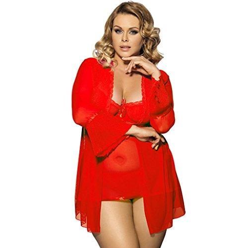 Preisvergleich Produktbild DFHHG® Sexy Dessous, Europa und die Vereinigten Staaten Große Größe Spaß Unterwäsche Sexy Pyjama Drei Sätze Trainingsanzug Set Sexy Dessous ( Farbe : Rot , größe : 5XL )
