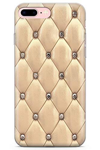Case Warehouse iPhone 7 Plus / 8 Plus Designer Arbeiten Gold Beschlagene Leder Schutz Gummi Handyhülle TPU Bumper Süss Blau Stein Girls Modisch -