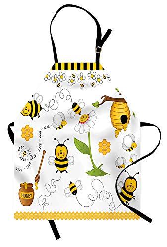 Soefipok Collage Schürze, Flying Bees Daisy Honig Kamille Blumen Pollen Springtime Animal Print, Unisex-Küche Latzschürze mit verstellbarem Hals zum Kochen Backen Gartenarbeit, Gelb Weiß ()