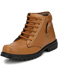 Rockfield Men's Black/Tan/Brown/White/Beige Synthetic Leather Boots Shoes/Leather Boots/Boot Shoes/Shoes Boots...