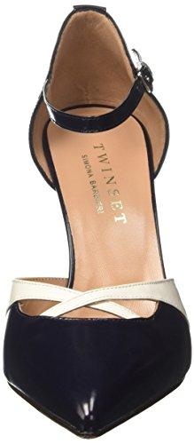 Twin-Set Cs7pde, Chaussures à brides femme Multicolore (Blu Nautico/Bianco Seta)